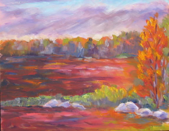 Last Light Blueberry Field - Painting,  8x10 in ©2008 by Lesley Braren -