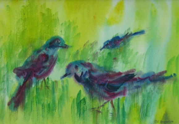 Dark Birds - Painting,  6x9 in ©2009 by Lesley Braren -