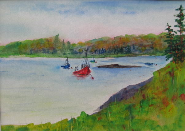 Red Lobster Boat - Painting,  6x9 in, ©2009 by Lesley Braren -
