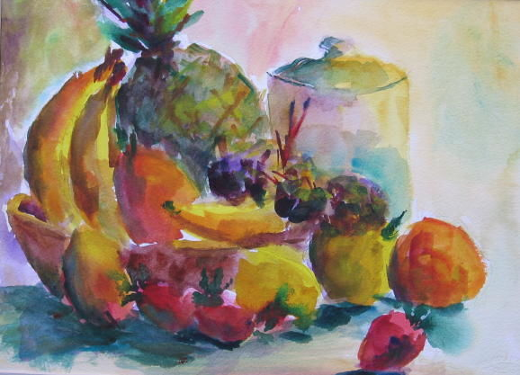 Kitchen Fruit - Painting,  9x13 in, ©2010 by Lesley Braren -