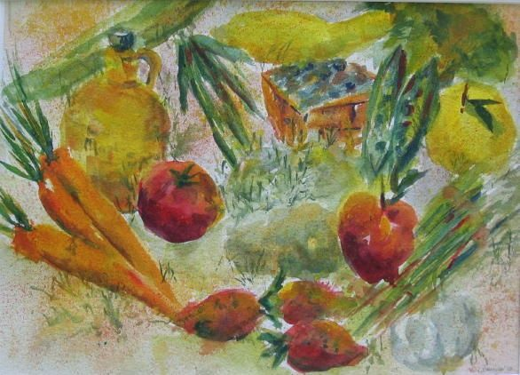 Grown Locally - Painting,  9x13x0.4 in, ©2010 by Lesley Braren -