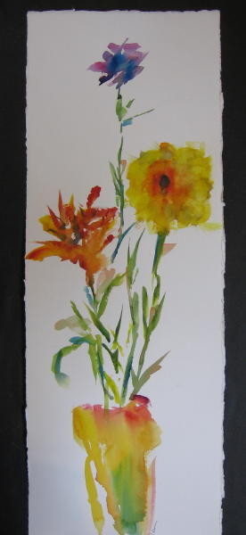 Tall Flowers I - Painting,  22x8 in, ©2011 by Lesley Braren -