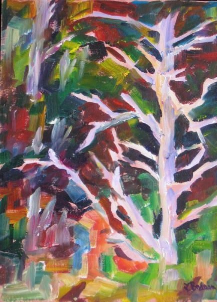 Ghost Tree - Painting,  8x6 in, ©2011 by Lesley Braren -