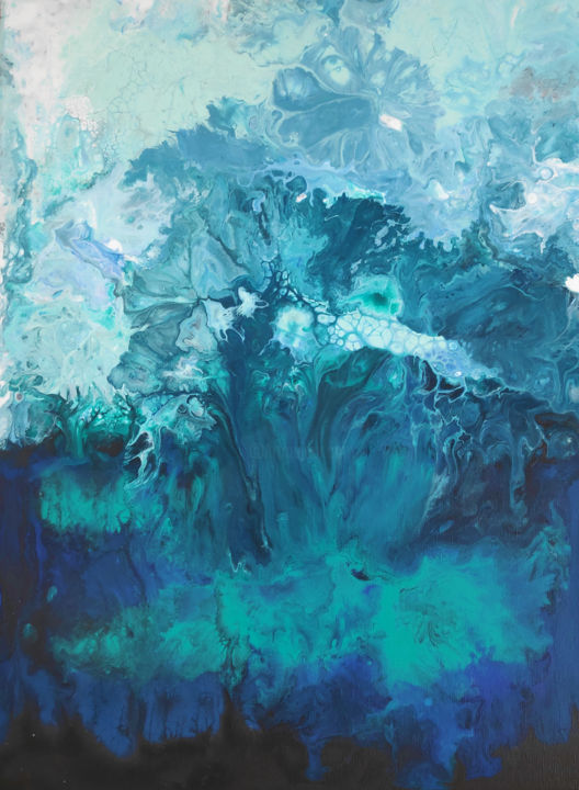 The Abyss - Painting ©2019 by Leslie LACHICHE -                                            Abstract Expressionism, Water, abstract, ocean, blue, deep, acrylic