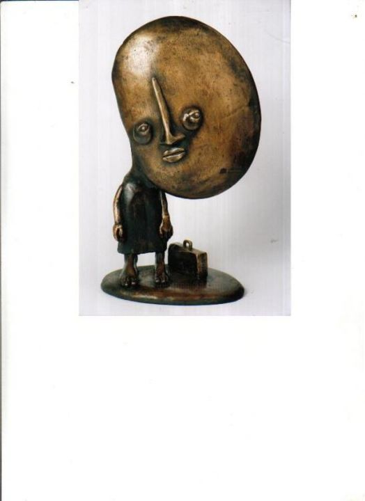 """Sculpture titled """"man with suitcase"""" by Leslie Agreenrod, Original Art,"""
