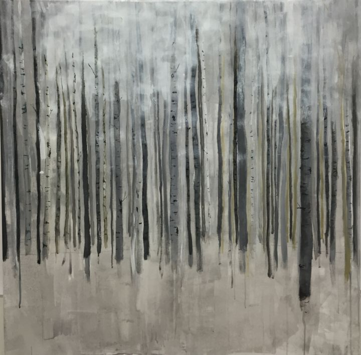 Birkenwald - Painting,  47.2x47.2 in, ©2016 by Leso -