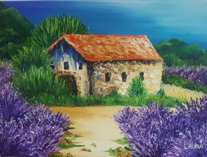 Le cabanon - Painting,  13x18.1 in, ©2018 by Les peintures de Laura -