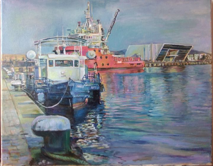 """Painting titled """"Sea station"""" by George Mirinchev, Original Art, Oil"""