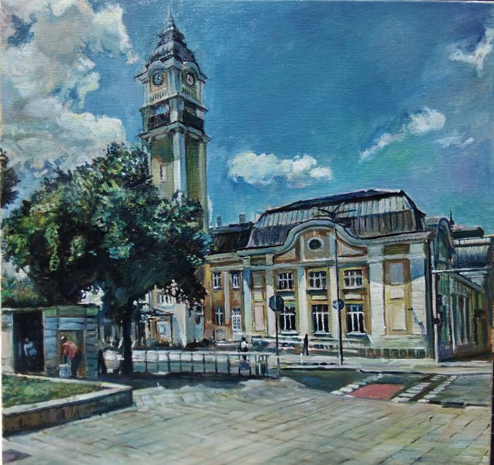 """Painting titled """"The railway station…"""" by George Mirinchev, Original Art, Oil"""