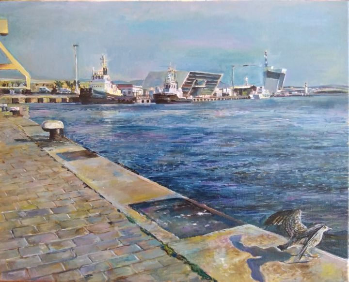 """Painting titled """"At the pier"""" by George Mirinchev, Original Art, Oil"""