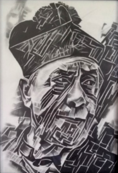 Portrait cubique de Don Camillo - Drawing,  11.8x7.9 in ©2018 by Johanna Levy -                                            Cubism, Portraits, Art, Dessin, Fusain, Don Camillo, Fernandel, Comédien
