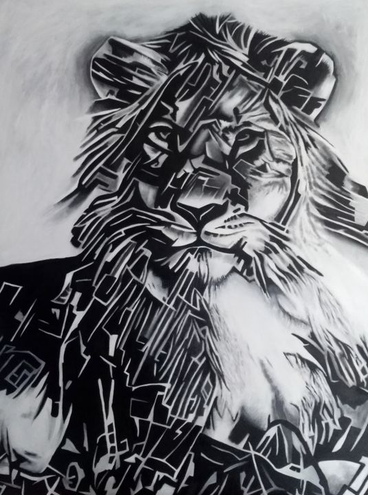 Lion - Painting,  45.7x28.7x1.2 in, ©2019 by Johanna Levy -