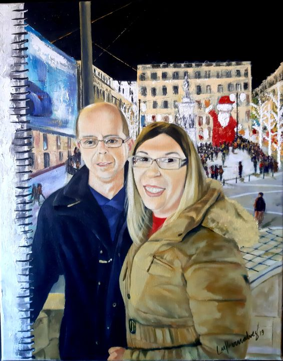 Natal no Chiado - Painting,  19.7x15.8x0.8 in, ©2019 by Luciano Fernandes -                                                                                                                                                                                                                                                                                                                                                                                                          Expressionism, expressionism-591, Cities, People, chiado, natal, óleo sobre tela, oil in canvas