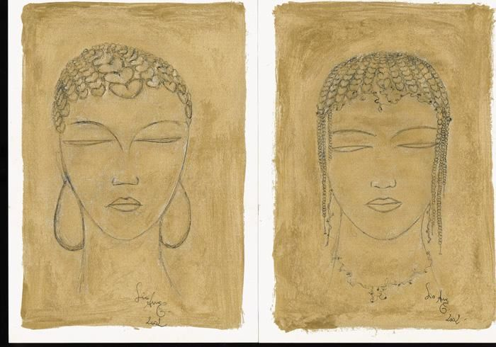 African portraits - Painting,  35x25 cm ©2002 by liaannethibout -                        Contemporary painting
