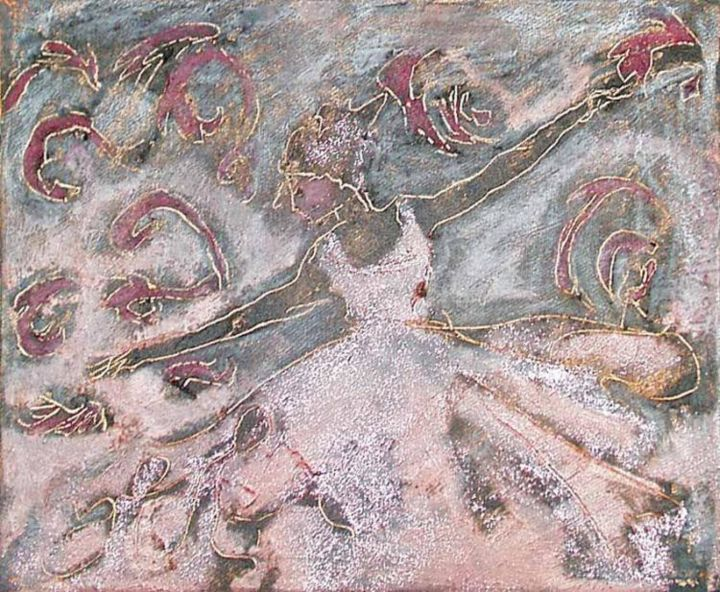 dyptik dance 2 - Painting,  30x25 cm ©2002 by liaannethibout -                        Contemporary painting