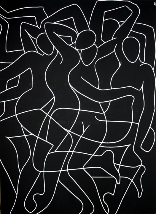 Playful dance (SOLD) - Painting,  24.4x17.7x0.1 in, ©2017 by Lia Chechelashvili -                                                                                                                                                                                                                                                                                                                                                                                                                                                                                                                                                                                              Expressionism, expressionism-591, Other, Black and White, Body, Music, Nude, dance, human figures, women, female figures, interactions