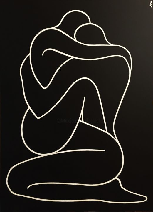 Lovers - Painting,  62x45x0.2 cm ©2019 by Lia Chechelashvili -                                                                                                                        Contemporary painting, Expressionism, Figurative Art, Minimalism, Other, Black and White, Body, Love / Romance, love, lovers, embrace, man & woman, black & white, passion, interaction