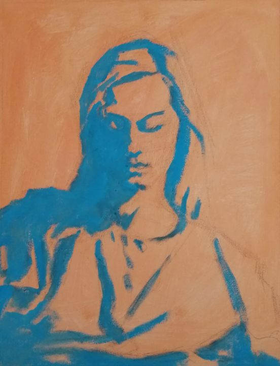 """Painting titled """"Young Woman In Warm…"""" by Liam Ryan, Original Art, Acrylic Mounted on Stretcher frame"""