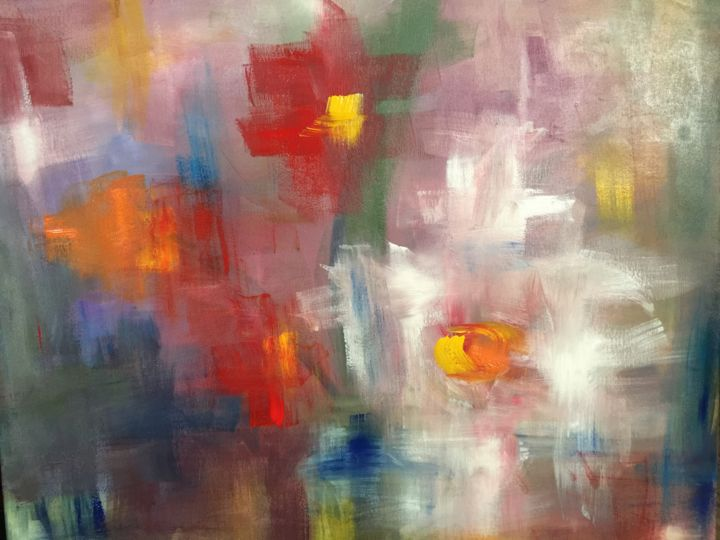 DOMANI - Painting,  23.6x27.6 in, ©2018 by Liana Branzas -                                                                                                                                                                          Abstract, abstract-570, Abstract Art