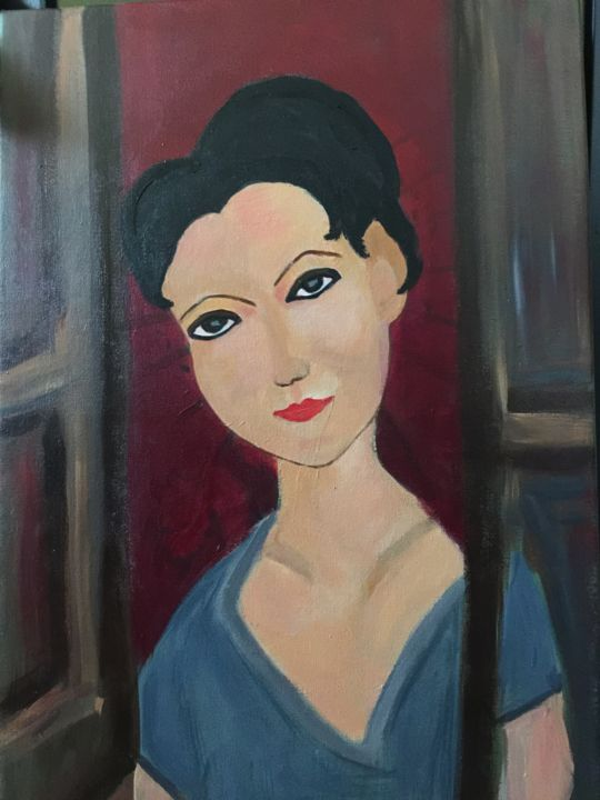 Se dici - Painting,  15.8x23.6 in, ©2018 by Liana Branzas -                                                              Portraits