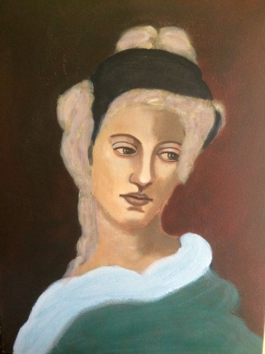 CONSCIENCE - Painting,  15.8x11.8x0.4 in, ©2010 by Liana Branzas -                                                                                                                          Classicism, classicism-933