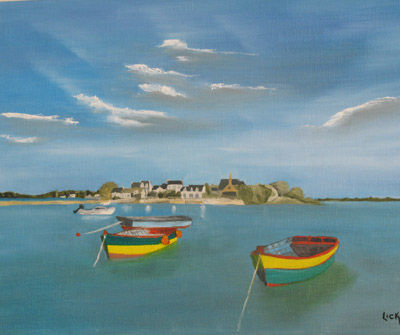 LES BARQUES COLOREES DE SAINT CADO - Painting,  10.6x13.8 in, ©2007 by Lick Lick -