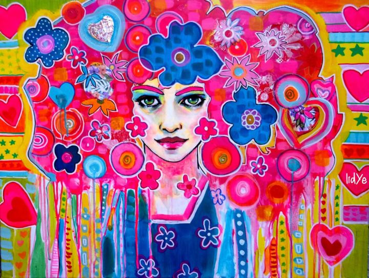 """Painting titled """"Seventies mood"""" by Lidye, Original Art, Acrylic Mounted on Stretcher frame"""