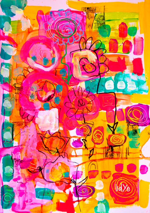 """Painting titled """"Abstract Flowers"""" by Lidye, Original Art, Acrylic"""
