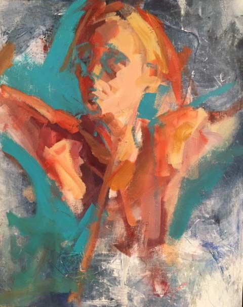 emerging2.jpg - Painting,  20x16x0.75 in ©2018 by Anne Hoover -                                                                                                            Abstract Art, Contemporary painting, Figurative Art, Portraiture, Canvas, Abstract Art, People, self portrait, figurative, expressive, portrait