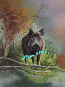 Sanglier - Painting,  33x23 cm ©2012 by Liliane YENK -