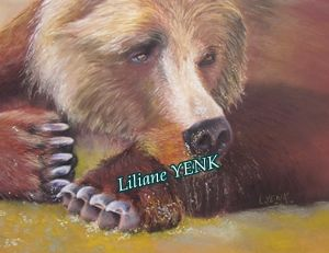 Tête d'ours - Painting,  38x28 cm ©2012 by Liliane YENK -
