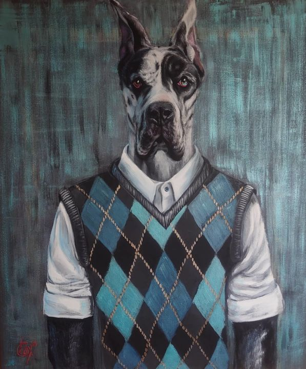 """Painting titled """"Great Dane Loran"""" by Fox, Original Art, Acrylic Mounted on Stretcher frame"""