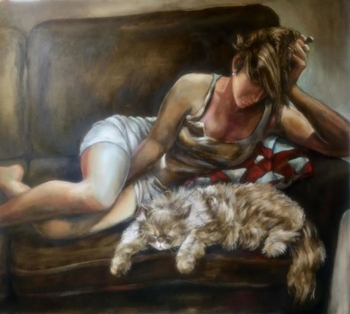 """Painting titled """"Repose"""" by Lina, Original Art, Oil"""