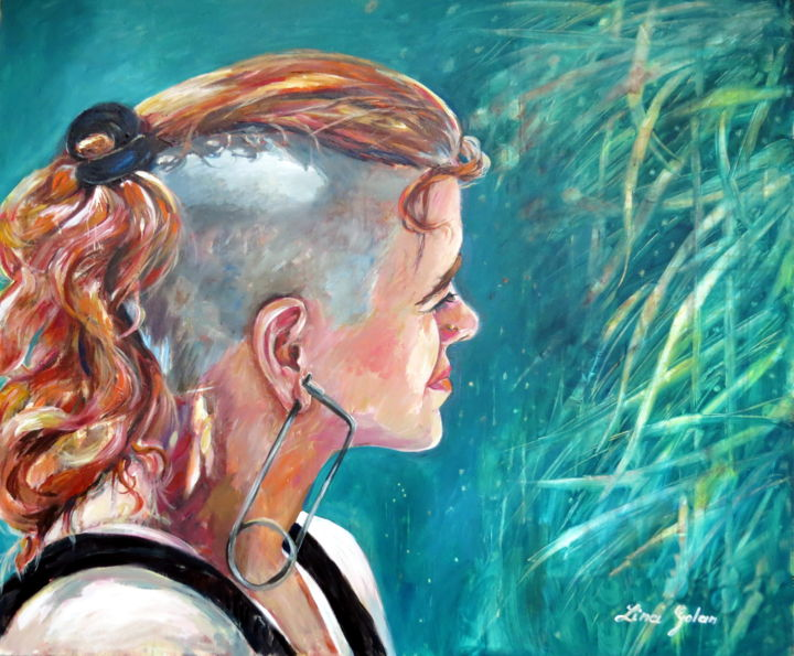 """Painting titled """"A girl with a pin e…"""" by Lina, Original Art, Oil"""