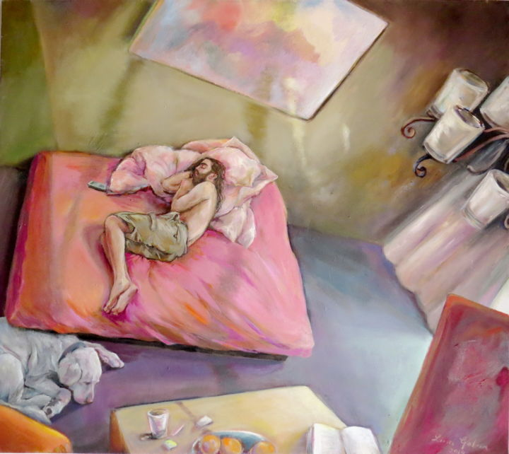 """Painting titled """"Young man sleeping"""" by Lina, Original Art, Oil"""