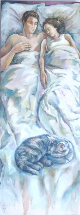 """Painting titled """"Sleeping cat"""" by Lina, Original Art, Oil"""