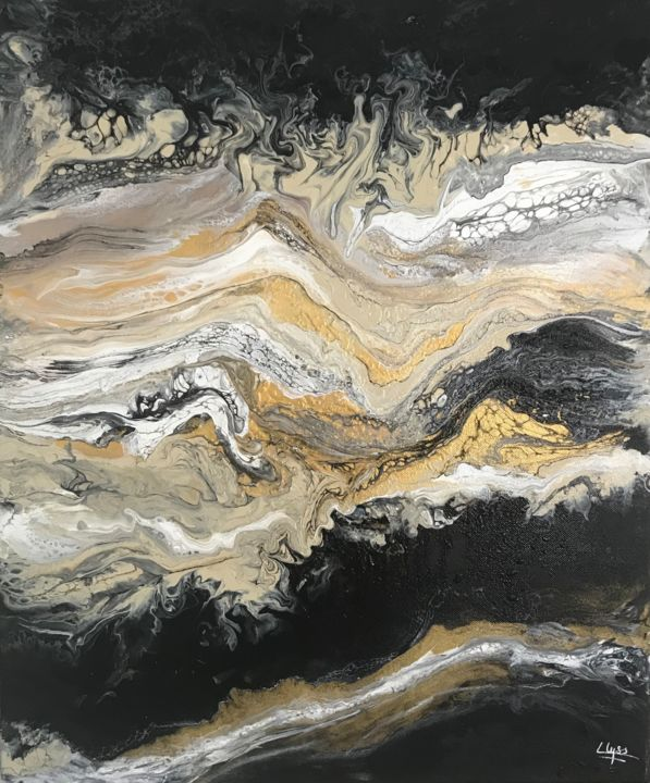 Volutes - Painting,  60x50x1.8 cm ©2019 by Lina Lyss -                                                            Abstract Art, Canvas, Abstract Art, fluidart, acrylique, peinture, toile, noir, doré, cellules, vagues, or