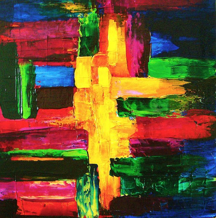 """Painting titled """"Colorblock abstract…"""" by Linda Paul, Original Art, Acrylic"""
