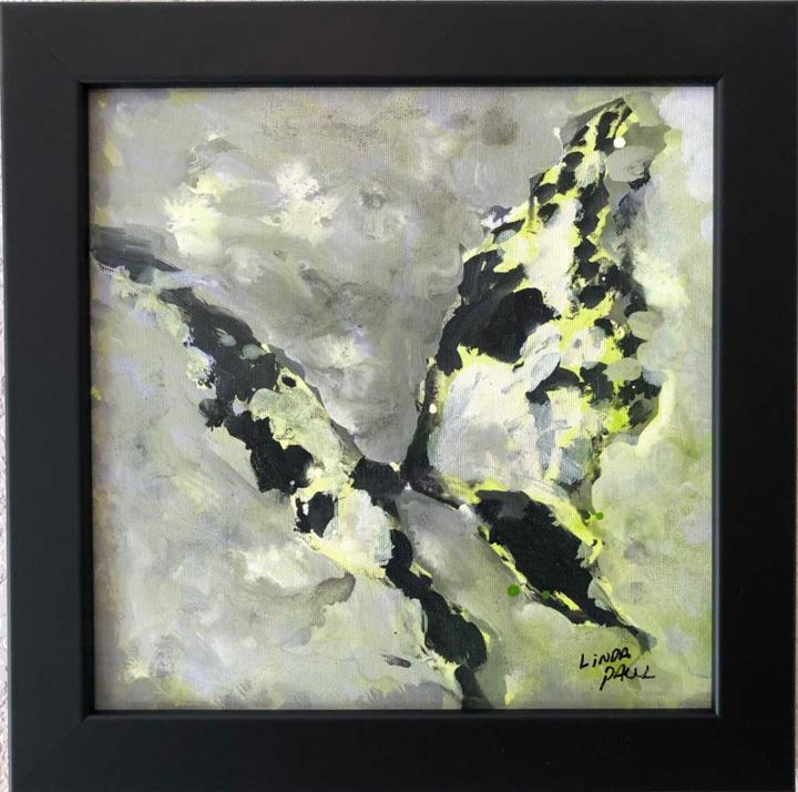 Framed Abstract Butterfly Painting By Linda Paul Painting By
