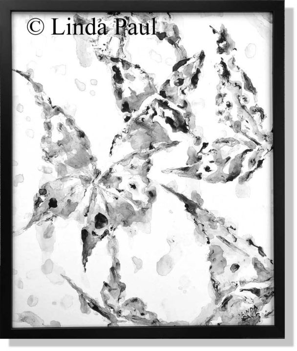 """Painting titled """"Black and White Abs…"""" by Linda Paul, Original Art, Ink Mounted on Wood Panel"""