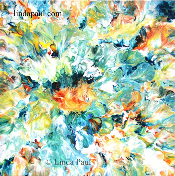 """Painting titled """"Floral chaos abstra…"""" by Linda Paul, Original Art, Acrylic"""