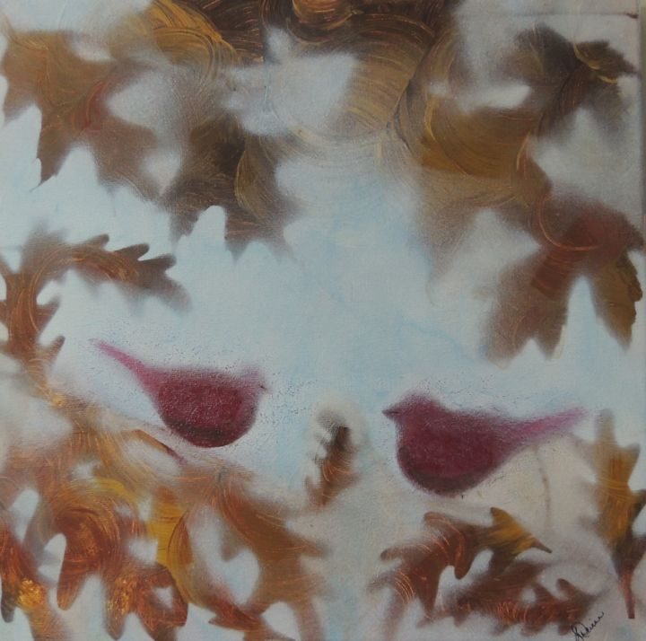 """Painting titled """"Fall Cardinals"""" by Linda Devine, Original Art, Acrylic"""