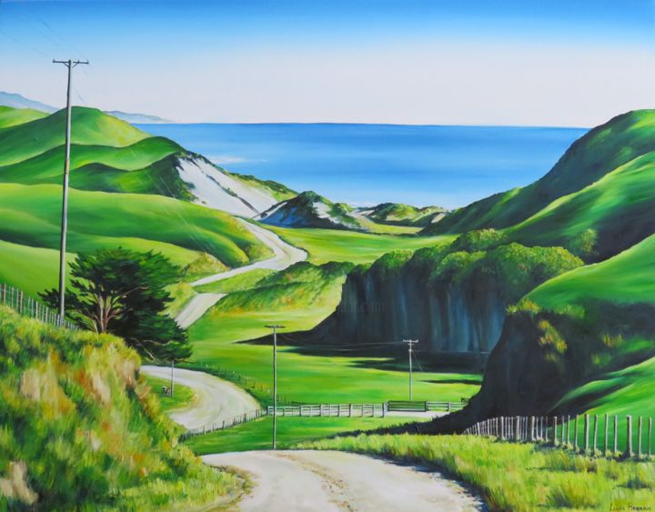 """Painting titled """"Drive to Anatori"""" by Linda Hannan, Original Art, Oil Mounted on Stretcher frame"""