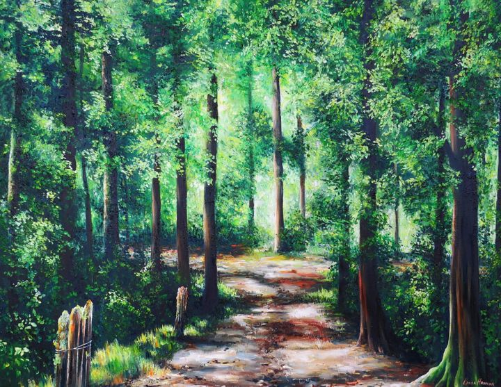 """Painting titled """"Paper Road"""" by Linda Hannan, Original Art, Oil Mounted on Stretcher frame"""