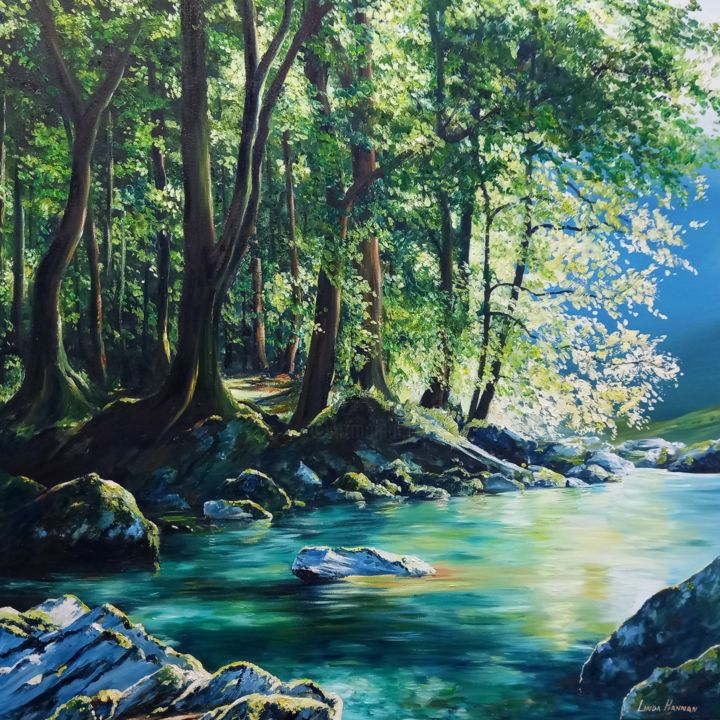 """Painting titled """"The Routeburn Track"""" by Linda Hannan, Original Art, Oil Mounted on Stretcher frame"""