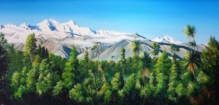 """Painting titled """"View from Okarito"""" by Linda Hannan, Original Art, Oil Mounted on Stretcher frame"""