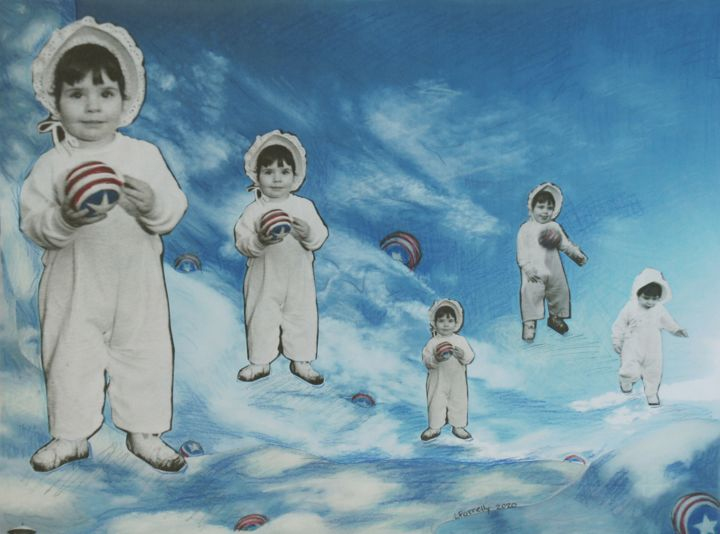 """Collages titled """"Playing Ball"""" by Linda Farrelly, Original Art, Collages"""