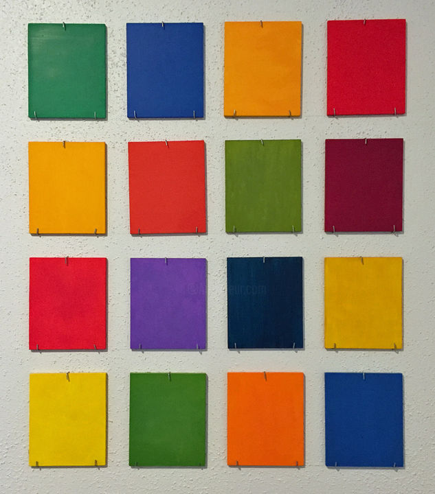 """Painting titled """"16 Different Colors"""" by Linda Rosenfield, Original Art, Oil Mounted on Wood Panel"""