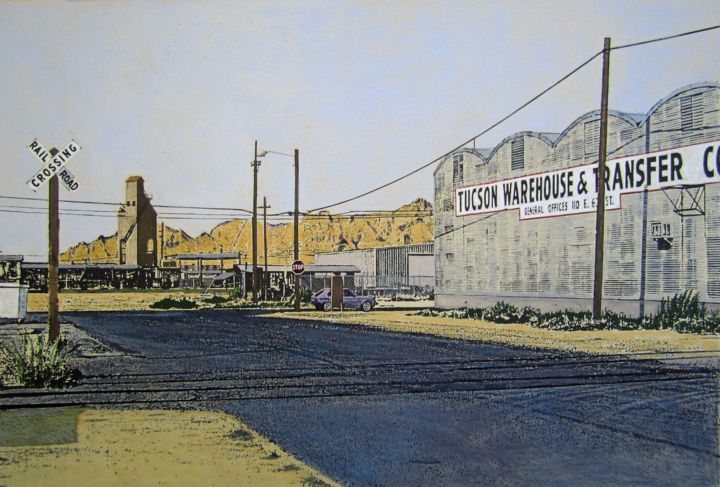 """Painting titled """"Tucson Warehouse an…"""" by Linda Rosenfield, Original Art,"""