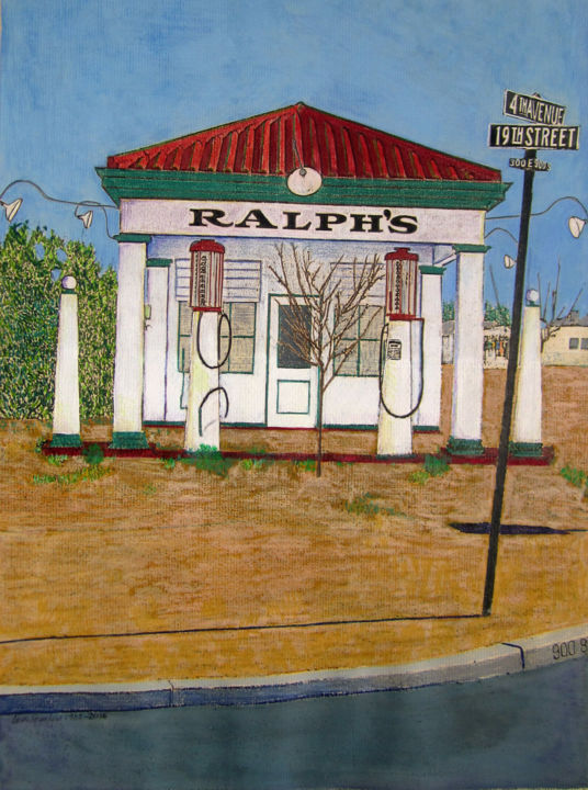 """Painting titled """"Ralph's Gas Station"""" by Linda Rosenfield, Original Art,"""